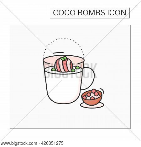 Coco Bomb Color Icon. Delicious Dessert. Cute Ball Of Chocolate With Marshmallows Filling. Bomb Insi