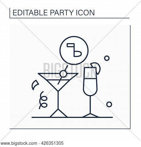 Drinks Party Line Icon. Formal Party With Alcoholic Drinks. Celebrations With Music And Snacks.celeb