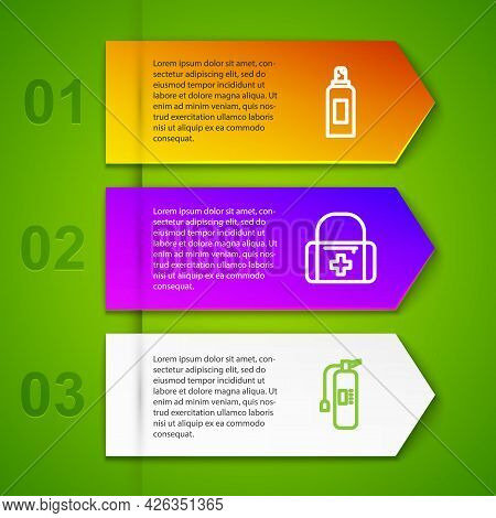 Set Line Paint Spray Can, First Aid Kit And Fire Extinguisher. Business Infographic Template. Vector
