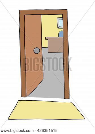 Cartoon Office Entrance Door, Vector Illustration. Colored And Black Outlines.