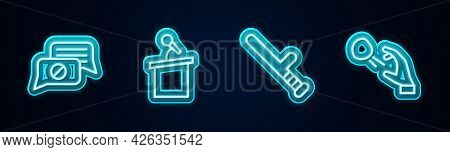 Set Line Speech Bubble Chat, Stage Stand Or Tribune, Police Rubber Baton And Hooligan Shooting Stone