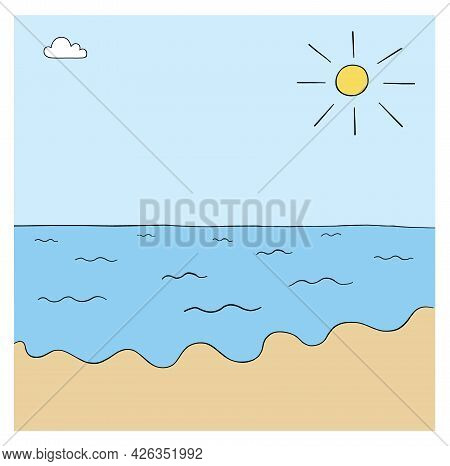 Cartoon Sea, Beach And Sunny Weather, Vector Illustration. Colored And Black Outlines.