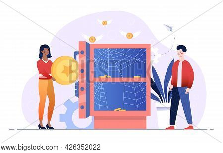Frustrated Male And Female Characters Are Standing Next To Empty Safe. People Are Losing All Money.