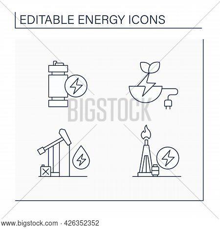 Energy Line Icons Set. Oil, Gas Power. Modular Mini Reactor, Biomass Energy. Power Stations. Electri