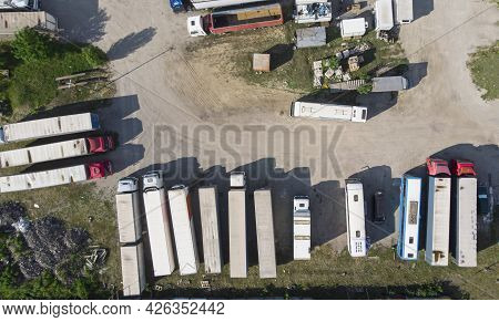 Aerial. Truck Parking. Top View From Drone.