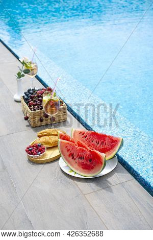 Breakfast By The Pool. Watermelon, Berries, Croissants, Non-alcoholic Cocktails By The Pool. Vertica