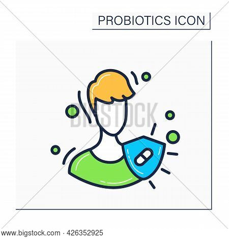 Immune System Color Icon.probiotics For Good Immunity Concept.medical Prevention Human Germ Sign.hea