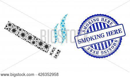 Covid Collage Cigarette Smoke Icon, And Grunge Smoking Here Seal Stamp. Cigarette Smoke Collage For
