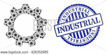 Virus Collage Gearwheel Icon, And Grunge Industrial Seal Stamp. Gearwheel Mosaic For Medical Templat