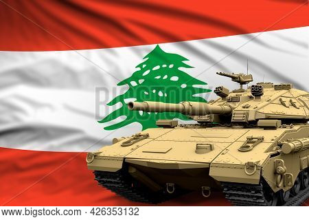 Lebanon Modern Tank With Not Real Design On The Flag Background - Tank Army Forces Concept, Military
