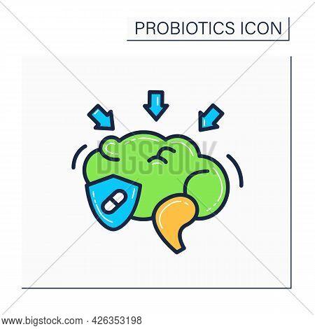 Probiotics Color Icon. Vitamins And Probiotics Effect On Brain. Good Human Bacteria Flora Concept. N