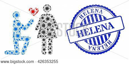 Virus Collage Engagement Persons Icon, And Grunge Helena Stamp. Engagement Persons Collage For Break
