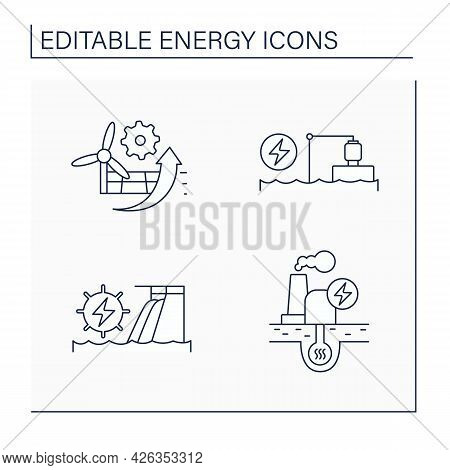 Energy Line Icons Set. P2x, Pumped Storage, Hydroelectric, Geothermal Power Stations. Electricity Ge