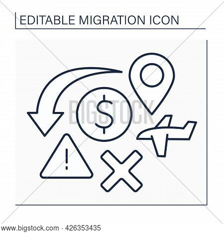Crisis Line Icon. Humanitarian Catastrophe, Economical Crushes. Too Many Migrants. Migration Concept