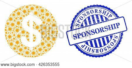 Viral Mosaic Dollar Coin Icon, And Grunge Sponsorship Seal Stamp. Dollar Coin Collage For Epidemic I