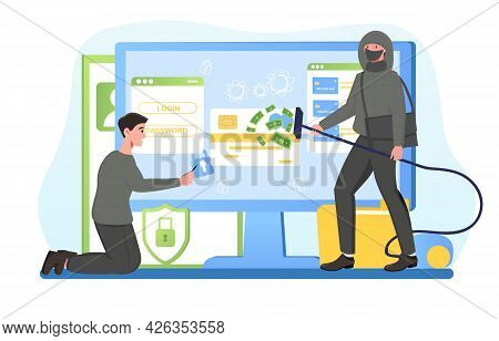 Robber In Black Mask Trying To Gain Unauthorized Access To Credit Card. Concept Of Credit Card Hacki