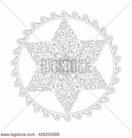 Coloring Book Jewish Star Of David. Paisley And Plant Ornaments. Anti-stress Therapy Art.