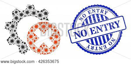 Contagious Mosaic Delete Settings Gear Icon, And Grunge No Entry Stamp. Delete Settings Gear Mosaic