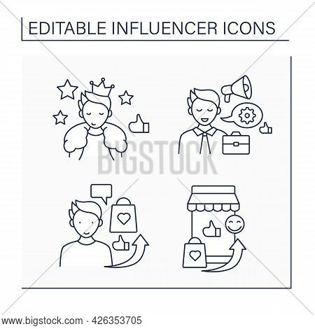 Influencer Line Icons Set. Mega Influencer, Marketplace, Advertising, Industry Expert. Blogging Conc