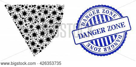 Covid Collage Circle Sector Icon, And Grunge Danger Zone Stamp. Circle Sector Collage For Breakout I