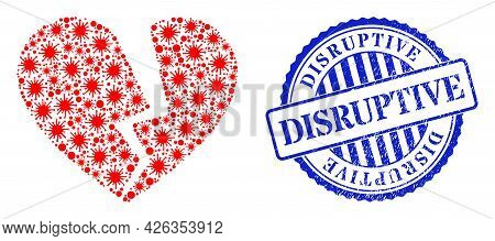 Virus Collage Broken Love Heart Icon, And Grunge Disruptive Seal Stamp. Broken Love Heart Collage Fo
