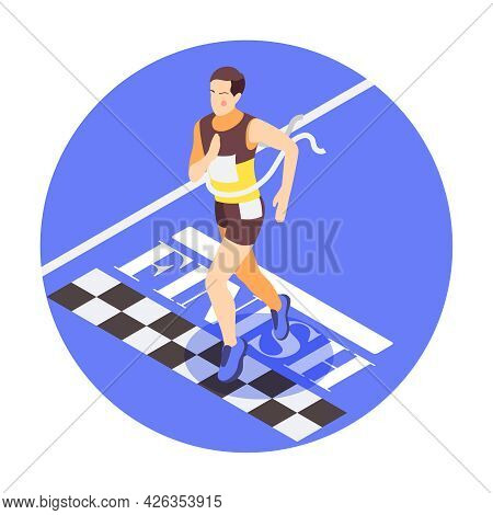 Running Isometric Composition With Male Runner Finishing Race 3d Vector Illustration