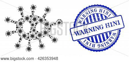 Cell Collage Bacilla Icon, And Grunge Warning H1n1 Seal Stamp. Bacilla Collage For Breakout Images,