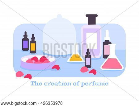 Perfume Creation Flat Composition With Flasks Tubes And Rose Petals Vector Illustration