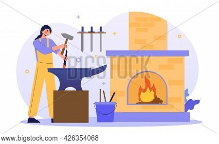 Young Female Character Is Working As A Metal Blacksmith. Hard Working Woman In Smithy Occupation Pro