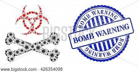 Virulent Collage Biohazard Bones Icon, And Grunge Bomb Warning Seal Stamp. Biohazard Bones Collage F