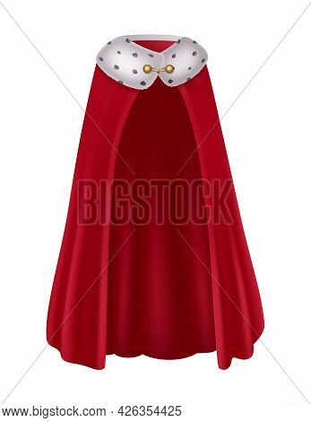 Realistic Red King Mantle With Fur And Golden Detail Vector Illustration