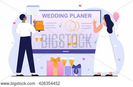 Bride And Groom Are Planning Wedding Ceremony Together. People Use Online Planning Service For Their
