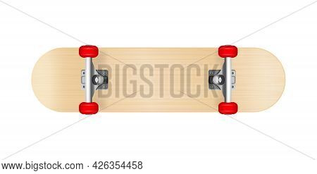 Realistic Skateboard With Red Wheels Bottom View Vector Illustration