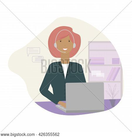 A Consultant, Administrator, Assistant Provides Assistance Online. A Girl, A Virtual Assistant, Talk