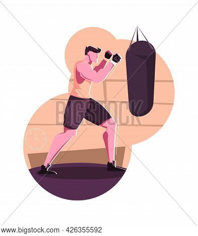 Military Training Composition With Sporty Man Boxing In Gym Flat Vector Illustration