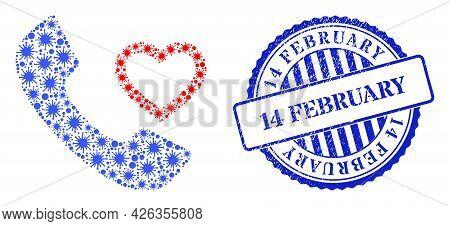 Coronavirus Collage Love Phone Receiver Icon, And Grunge 14 February Seal. Love Phone Receiver Colla