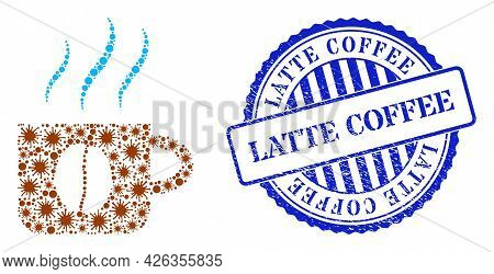 Viral Collage Hot Coffee Cup Icon, And Grunge Latte Coffee Seal Stamp. Hot Coffee Cup Collage For Me