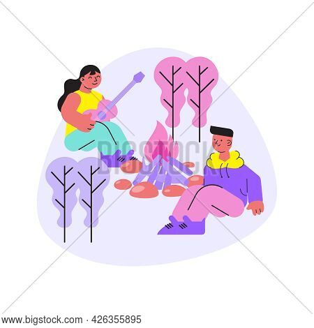 Camp Flat Composition With Two Characters Playing Guitar Near Campfire In Forest Vector Illustration