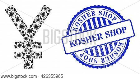 Coronavirus Collage Yen Icon, And Grunge Kosher Shop Stamp. Yen Mosaic For Medical Templates, And Gr