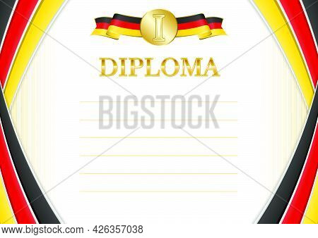 Horizontal  Frame And Border With Germany Flag, Template Elements For Your Certificate And Diploma.