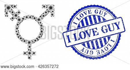 Cell Mosaic Three Gender Symbol Icon, And Grunge I Love Guy Seal Stamp. Three Gender Symbol Mosaic F
