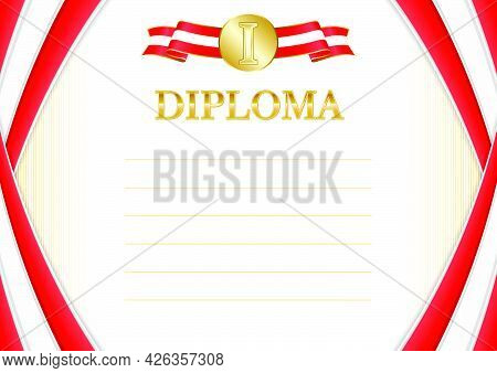 Horizontal  Frame And Border With Canada Flag, Template Elements For Your Certificate And Diploma. V
