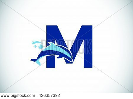 Initial M Monogram Letter Alphabet With A Dolphin Logo Design. Water Animal Icon. Font Emblem. Moder