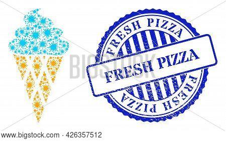 Coronavirus Mosaic Icecream Icon, And Grunge Fresh Pizza Seal Stamp. Icecream Mosaic For Breakout Te