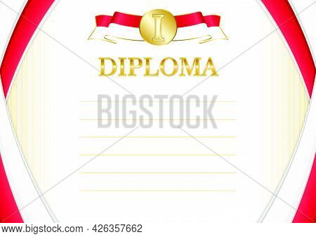 Horizontal  Frame And Border With Monaco Flag, Template Elements For Your Certificate And Diploma. V