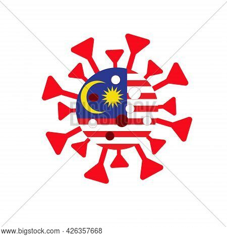 Illustration Of Malaysia Flag In Coronavirus Shape. Cases In Malaysia Is High And Worst In The World