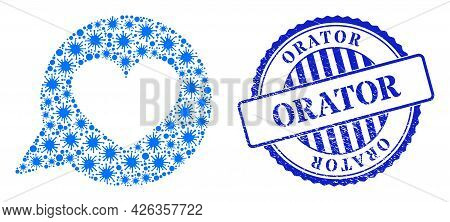 Coronavirus Collage Love Heart Message Icon, And Grunge Orator Stamp. Love Heart Message Mosaic For