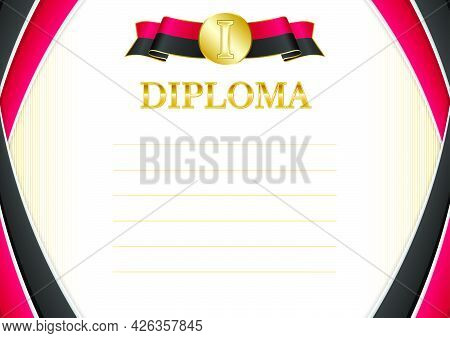Horizontal  Frame And Border With Angola Flag, Template Elements For Your Certificate And Diploma. V