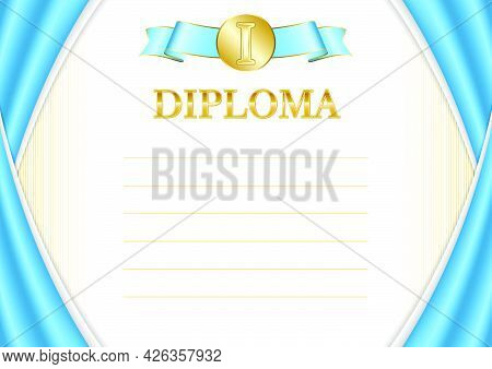 Horizontal  Frame And Border With Saint Lucia Flag, Template Elements For Your Certificate And Diplo