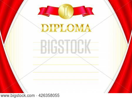 Horizontal  Frame And Border With Albania Flag, Template Elements For Your Certificate And Diploma.